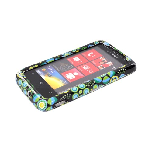 HTC Trophy Hard Case - Sky Blue/ Lime Green/ Green Retro Flowers