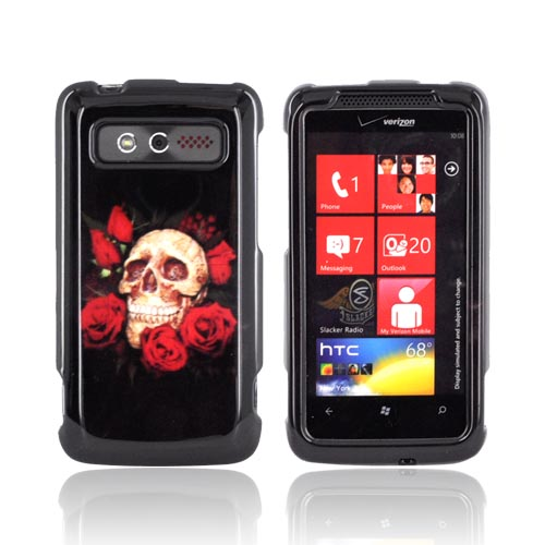 HTC Trophy Hard Case - Skull & Red Roses on Black