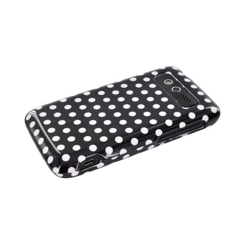 HTC Trophy Hard Case - White Polka Dots on Black