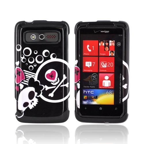 HTC Trophy Hard Case - White Skulls & Pink Hearts on Black