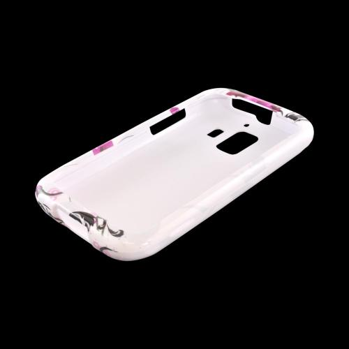 AT&T Fusion 2 U8665 Hard Case - Magenta Flowers & Black Vines on White