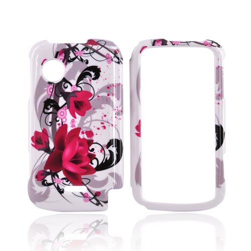 Huawei M735 Hard Case - Pink Flower on White