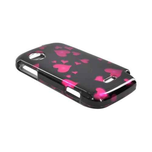 Huawei M735 Hard Case - Raining Pink Hearts on Black
