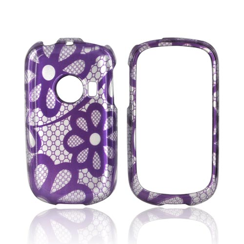 Huawei M835 Hard Case - Purple Lace Flowers on Silver