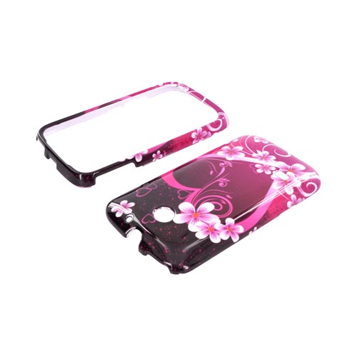 Huawei Ascend 2 M865 Hard Case - Hot Pink/ Purple Flowers & Hearts