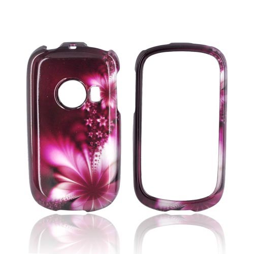 Huawei M835 Hard Case - Pink Flowers on Maroon