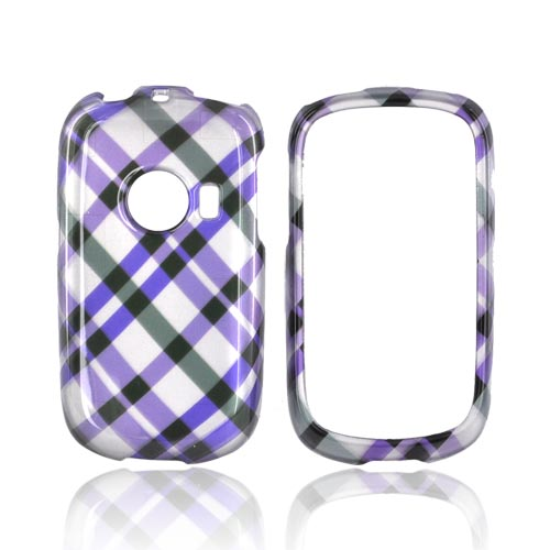 Huawei M835 Hard Case - Purple/ Green Plaid on Silver