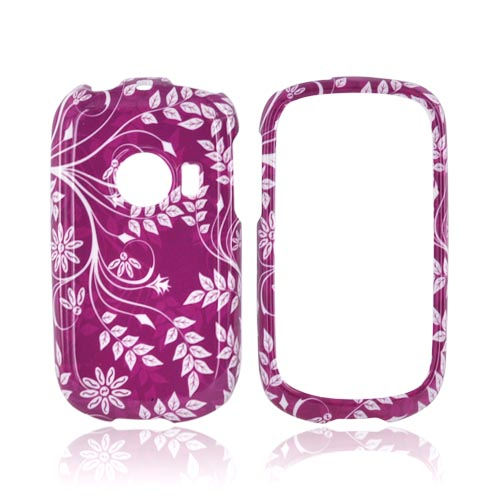 Huawei M835 Hard Case - White Flowers & Vines on Purple