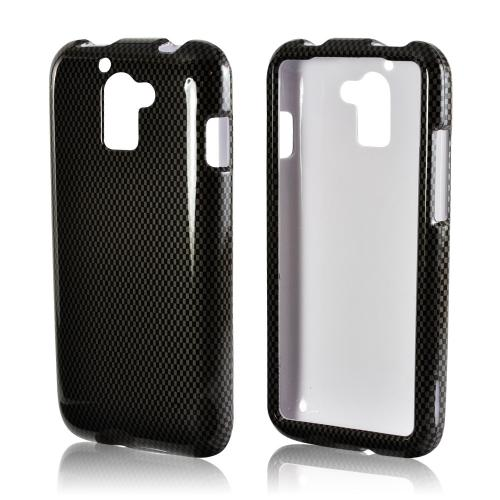 Black/ Gray Carbon Fiber Design Hard Case for Huawei Premia 4G