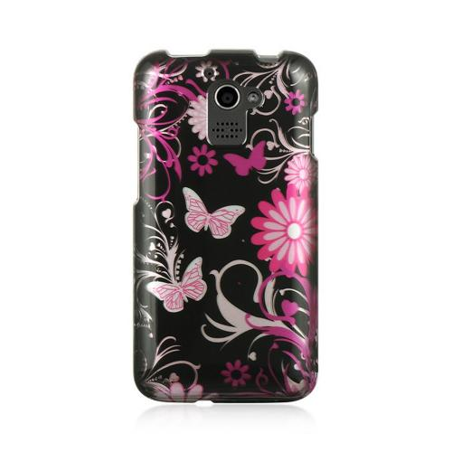 Pink Flowers & Butterflies on Black Hard Case for Huawei Premia 4G M931