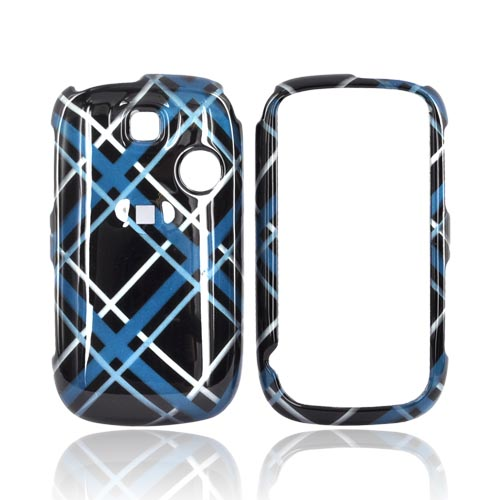T-Mobile Tap Hard Case - Tartan Blue, Silver Plaid Design on Black