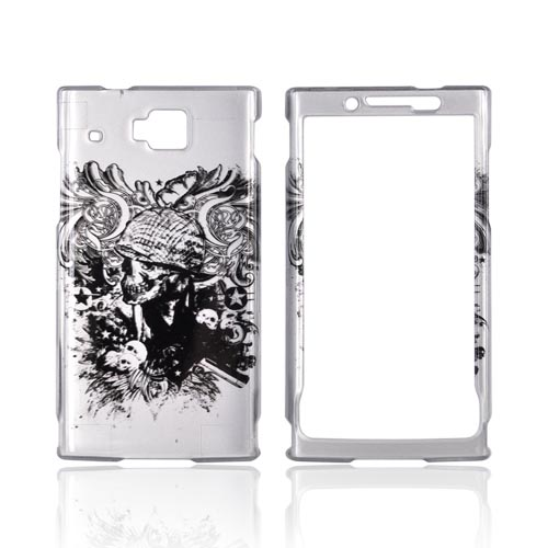 Huawei Ideos X6 Hard Case - Black Skull w/ Helmet & Gun on Silver