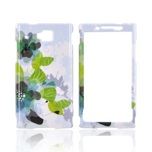 Huawei Ideos X6 Hard Case - Blue/ Green Water Lilies on White