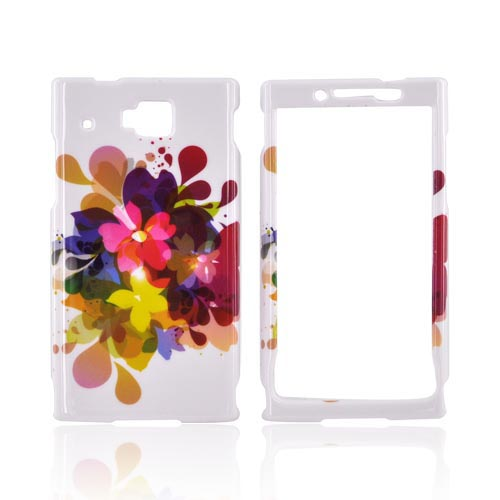 Huawei Ideos X6 Hard Case - Colorful Water Flowers on White