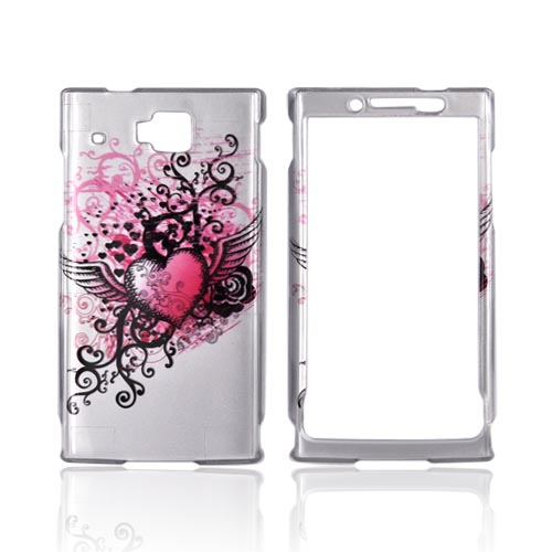 Huawei Ideos X6 Hard Case - Red Heart w/ Wings on Silver