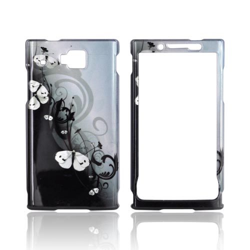 Huawei Ideos X6 Hard Case - White Butterflies on Black/ Blue