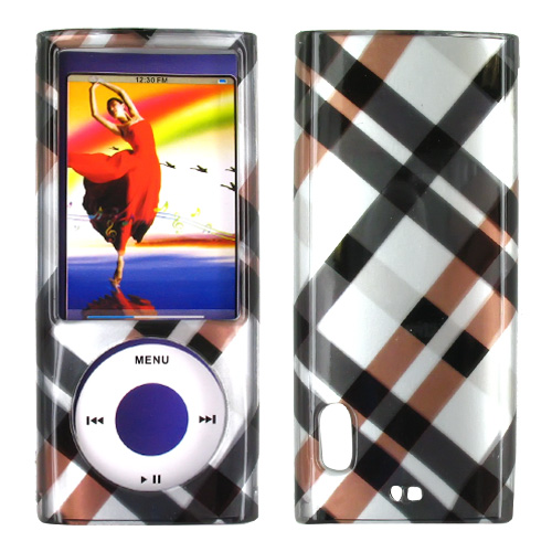 Apple iPod Nano 5 Hard Case - Checkered Pattern of Navy, Brown on Silver