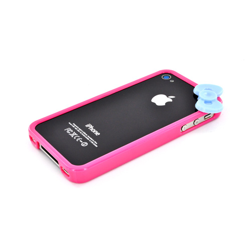 AT&T/ Verizon Apple iPhone 4, iPhone 4S Hard Case Bumper w/ Bow - Hot Pink/ Sky Blue