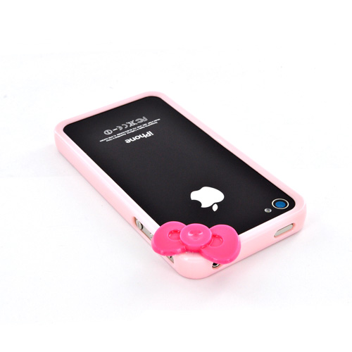 AT&T/ Verizon Apple iPhone 4, iPhone 4S Hard Case Bumper w/ Bow - Pink/ Hot Pink