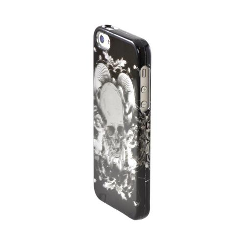 Apple iPhone SE / 5 / 5S Hard Case,  [Silver Skull w/ Angels on Black]  Slim & Protective Crystal Glossy Snap-on Hard Polycarbonate Plastic Case Cover
