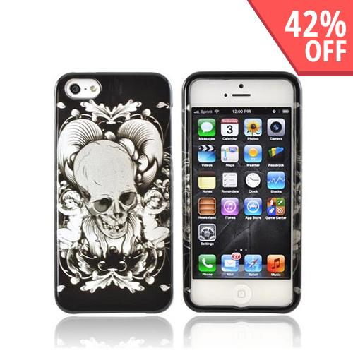 Apple iPhone 5/5S Hard Case - Silver Skull w/ Angels on Black