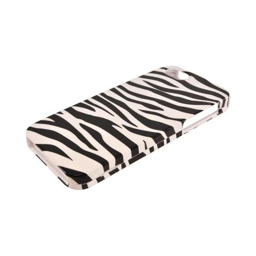 Apple iPhone SE / 5 / 5S Hard Case,  [Black/ White Zebra]  Slim & Protective Crystal Glossy Snap-on Hard Polycarbonate Plastic Case Cover