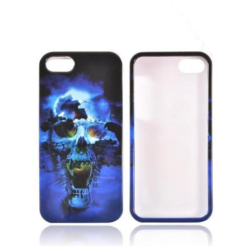 Apple iPhone SE / 5 / 5S Hard Case,  [Blue Skull]  Slim & Protective Crystal Glossy Snap-on Hard Polycarbonate Plastic Case Cover
