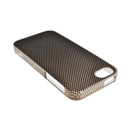 Apple iPhone SE / 5 / 5S Hard Case,  [Black/ Gray Carbon Fiber Design]  Slim & Protective Crystal Glossy Snap-on Hard Polycarbonate Plastic Case Cover