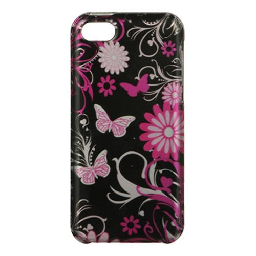 Hot Pink Flowers & Butterflies on Black Hard Case for Apple iPhone 5C