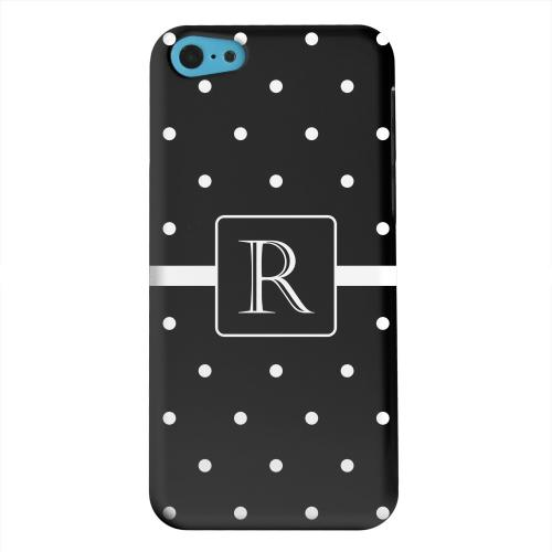 Geeks Designer Line (GDL) Apple iPhone 5C Matte Hard Back Cover - Monogram R on Classic Mini Polka Dots