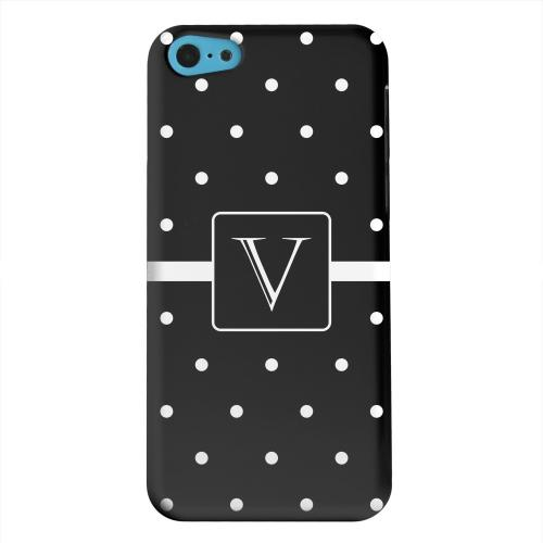 Geeks Designer Line (GDL) Apple iPhone 5C Matte Hard Back Cover - Monogram V on Classic Mini Polka Dots