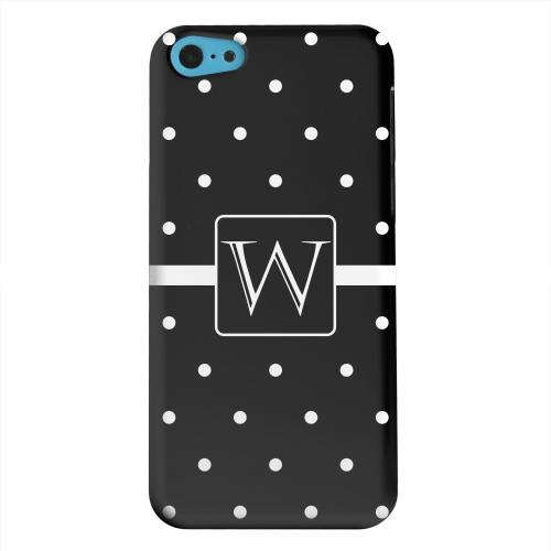 Geeks Designer Line (GDL) Apple iPhone 5C Matte Hard Back Cover - Monogram W on Classic Mini Polka Dots
