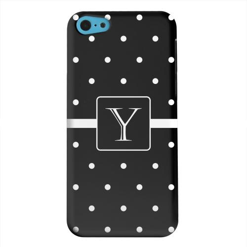 Geeks Designer Line (GDL) Apple iPhone 5C Matte Hard Back Cover - Monogram Y on Classic Mini Polka Dots