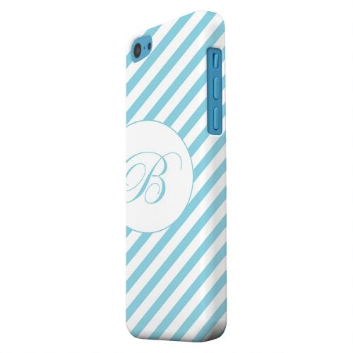 Geeks Designer Line (GDL) Apple iPhone 5C Matte Hard Back Cover - Calligraphy Monogram B on Mint Slanted Stripes