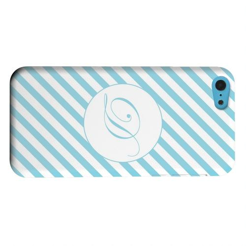 Geeks Designer Line (GDL) Apple iPhone 5C Matte Hard Back Cover - Calligraphy Monogram D on Mint Slanted Stripes