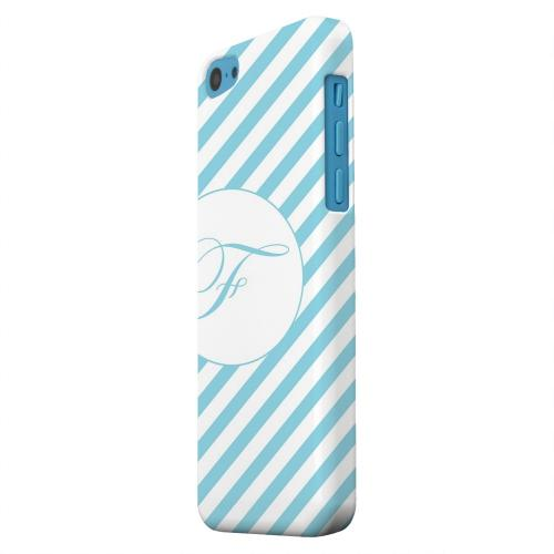 Geeks Designer Line (GDL) Apple iPhone 5C Matte Hard Back Cover - Calligraphy Monogram F on Mint Slanted Stripes