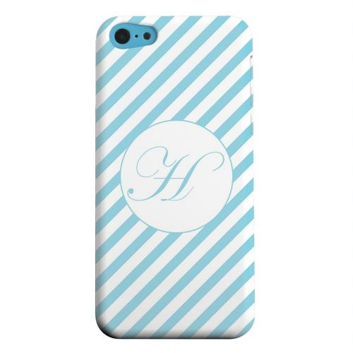 Geeks Designer Line (GDL) Apple iPhone 5C Matte Hard Back Cover - Calligraphy Monogram H on Mint Slanted Stripes