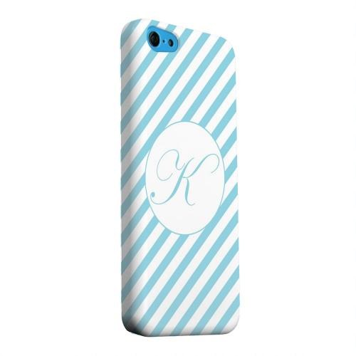 Geeks Designer Line (GDL) Apple iPhone 5C Matte Hard Back Cover - Calligraphy Monogram K on Mint Slanted Stripes