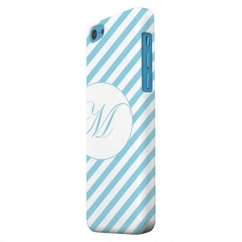 Geeks Designer Line (GDL) Apple iPhone 5C Matte Hard Back Cover - Calligraphy Monogram M on Mint Slanted Stripes