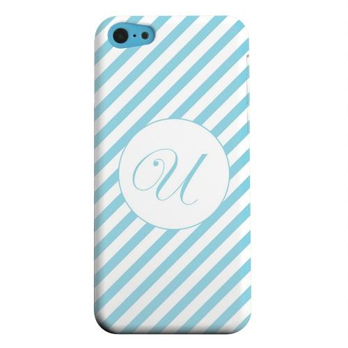 Geeks Designer Line (GDL) Apple iPhone 5C Matte Hard Back Cover - Calligraphy Monogram U on Mint Slanted Stripes