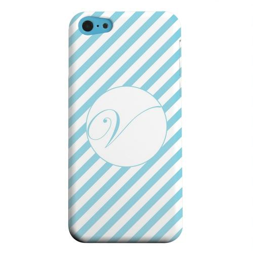 Geeks Designer Line (GDL) Apple iPhone 5C Matte Hard Back Cover - Calligraphy Monogram V on Mint Slanted Stripes