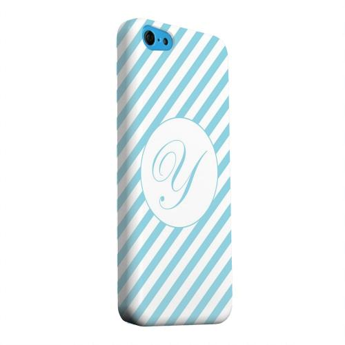 Geeks Designer Line (GDL) Apple iPhone 5C Matte Hard Back Cover - Calligraphy Monogram Y on Mint Slanted Stripes
