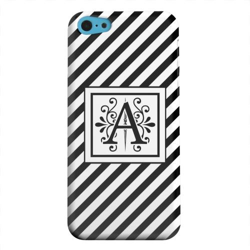 Geeks Designer Line (GDL) Apple iPhone 5C Matte Hard Back Cover - Vintage Vine Monogram A On Black Slanted Stripes