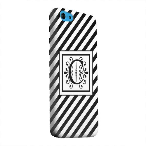 Geeks Designer Line (GDL) Apple iPhone 5C Matte Hard Back Cover - Vintage Vine Monogram C On Black Slanted Stripes