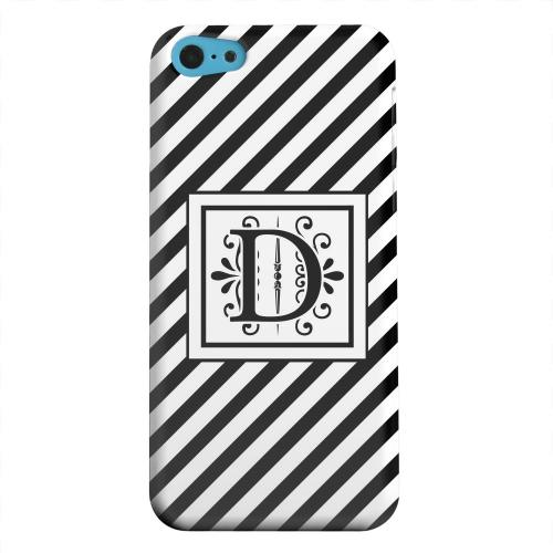 Geeks Designer Line (GDL) Apple iPhone 5C Matte Hard Back Cover - Vintage Vine Monogram D On Black Slanted Stripes
