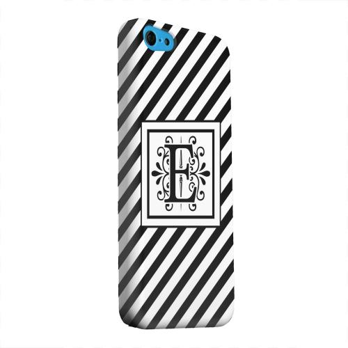 Geeks Designer Line (GDL) Apple iPhone 5C Matte Hard Back Cover - Vintage Vine Monogram E On Black Slanted Stripes