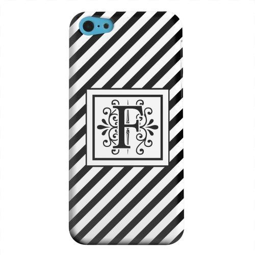 Geeks Designer Line (GDL) Apple iPhone 5C Matte Hard Back Cover - Vintage Vine Monogram F On Black Slanted Stripes