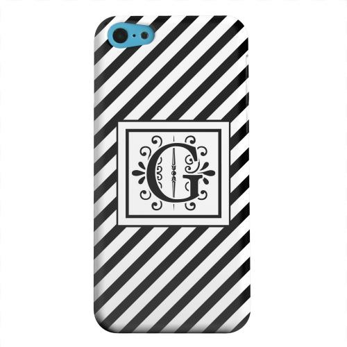 Geeks Designer Line (GDL) Apple iPhone 5C Matte Hard Back Cover - Vintage Vine Monogram G On Black Slanted Stripes