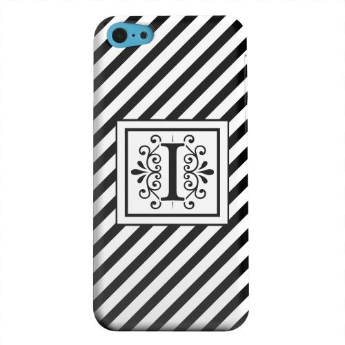 Geeks Designer Line (GDL) Apple iPhone 5C Matte Hard Back Cover - Vintage Vine Monogram I On Black Slanted Stripes