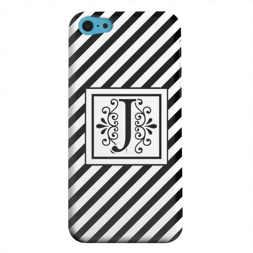 Geeks Designer Line (GDL) Apple iPhone 5C Matte Hard Back Cover - Vintage Vine Monogram J On Black Slanted Stripes